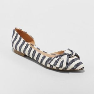 Women's Jayme Stripe Bow Ballet Flats - A New Day™